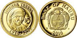 World Coins - Coin, Nauru, Mother Teresa, 5 Dollars, 2010, , Gold