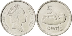 World Coins - FIJI, 5 Cents, 2009, KM #119, , Nickel Plated Steel, 19.5, 2.34