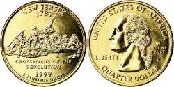 Us Coins - Coin, United States, New Jersey, Quarter, 1999, U.S. Mint, Denver, golden