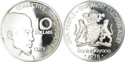 World Coins - Coin, Guyana, 10 Dollars, 1978, Franklin Mint, BE, , Silver, KM:44a