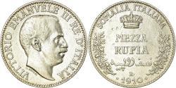 World Coins - Coin, ITALIAN SOMALILAND, Vittorio Emanuele III, 1/2 Rupia, 1910, Rome