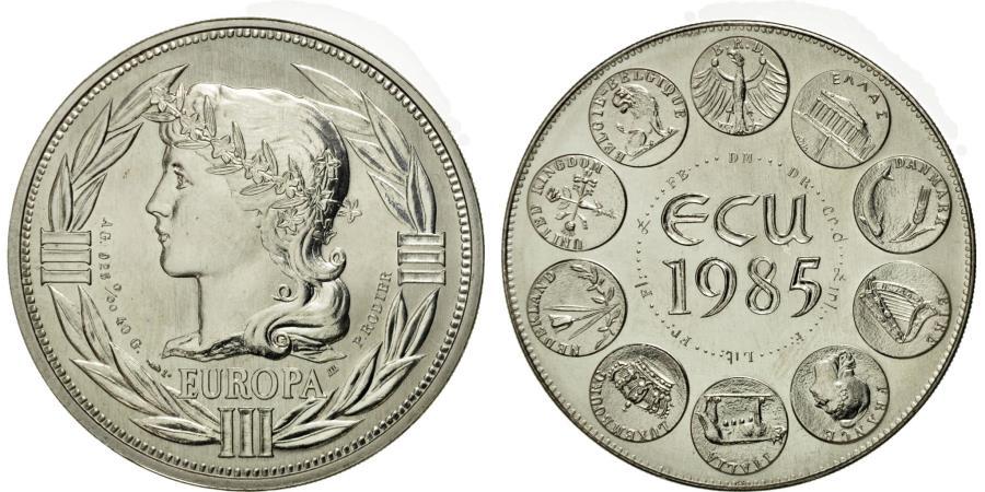 World Coins - France, Medal, Ecu Europa, Marianne, 1985, Rodier, , Silver