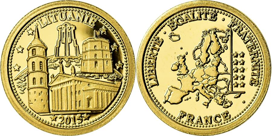 World Coins - Lithuania, Medal, Les Pays dans l'Euro, Politics, Society, War, 2015,