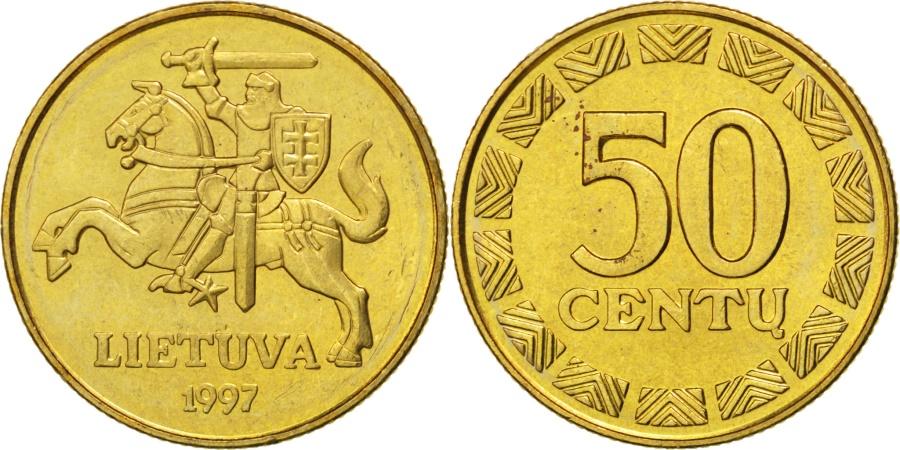 World Coins - LITHUANIA, 50 Centu, 1997, KM #108, , Nickel-Brass, 23, 6.06