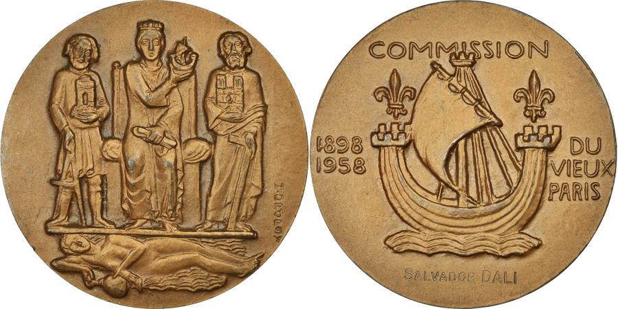 World Coins - France, Medal, Commission du Vieux Paris, Salvador Dali, 1958, Dropsy