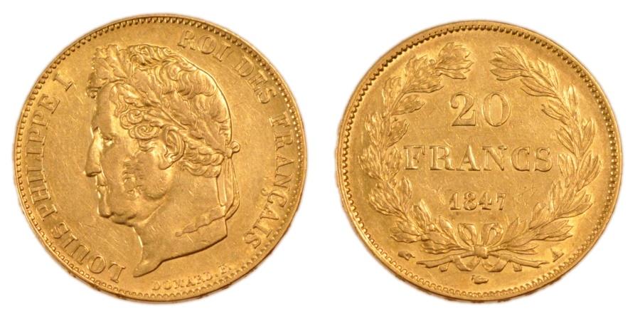 World Coins - FRANCE, Louis-Philippe, 20 Francs, 1847, Paris, KM #750.1, , Gold,...