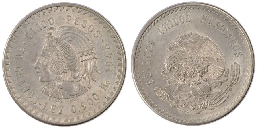 World Coins - MEXICO, 5 Pesos, 1948, Mexico City, KM #465, , Silver, 40, 30.00