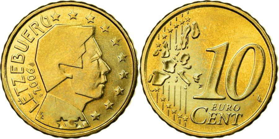 World Coins - Luxembourg, 10 Euro Cent, 2006, , Brass, KM:78