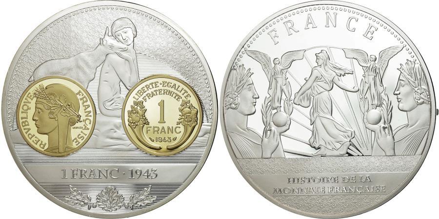 World Coins - France, Medal, Histoire de la Monnaie Française, 1 Franc 1943, 2013,