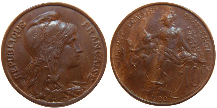 World Coins - FRANCE, Dupuis, 10 Centimes, 1900, Paris, KM #843, , Bronze, 30,...