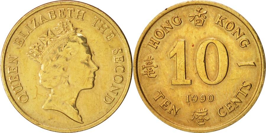 World Coins - Hong Kong, Elizabeth II, 10 Cents, 1990, , Nickel-brass, KM:55