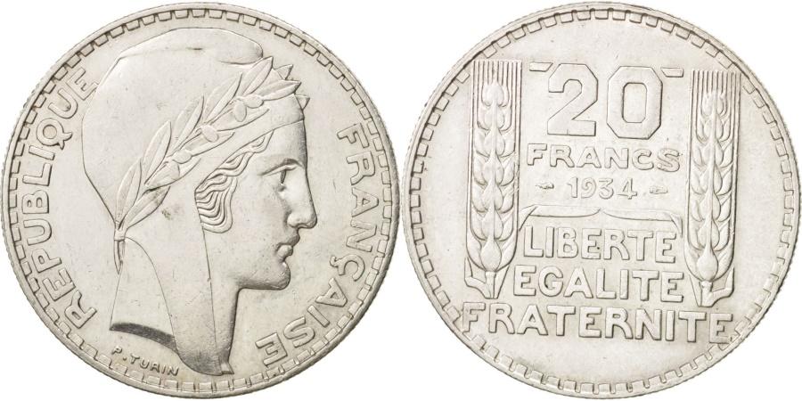 World Coins - France, Turin, 20 Francs, 1934, Paris, , Silver, KM:879, Gadoury:852