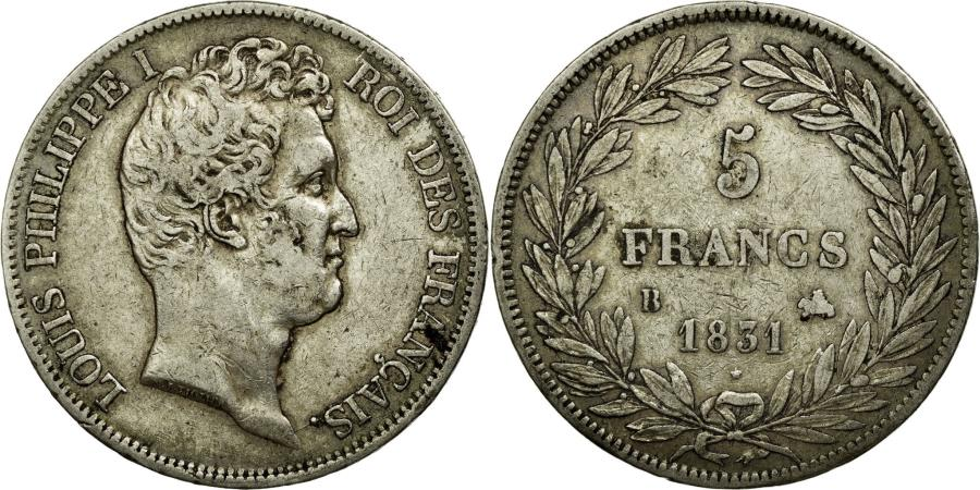 World Coins - Coin, France, Louis-Philippe, 5 Francs, 1831, Rouen, EF(40-45), Silver