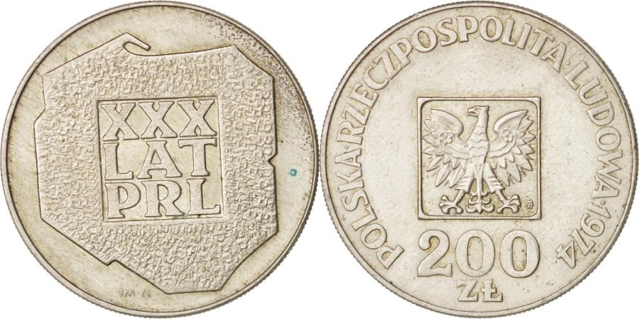 World Coins - Poland, 200 Zlotych, 1974, Warsaw, Silver, KM:72