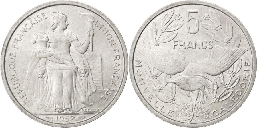 World Coins - NEW CALEDONIA, 5 Francs, 1952, Paris, KM #4, , Aluminum, 31, Lecompte..