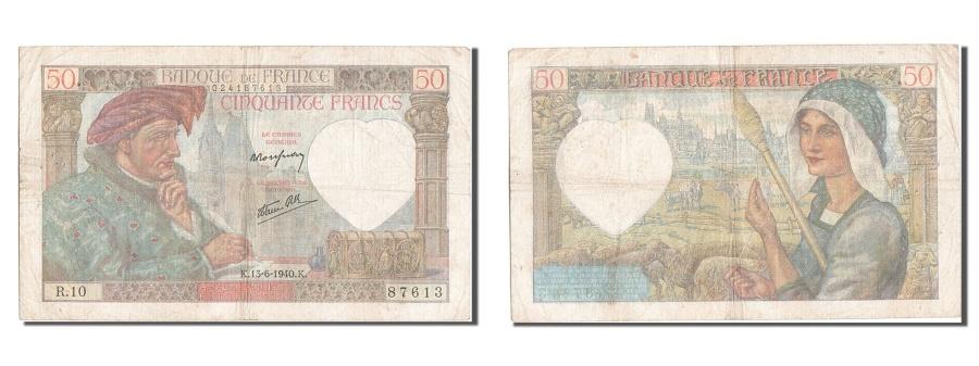 World Coins - France, 50 Francs, 50 F 1940-1942 ''Jacques Coeur'', 1940, KM #93, 1940-06-13,..