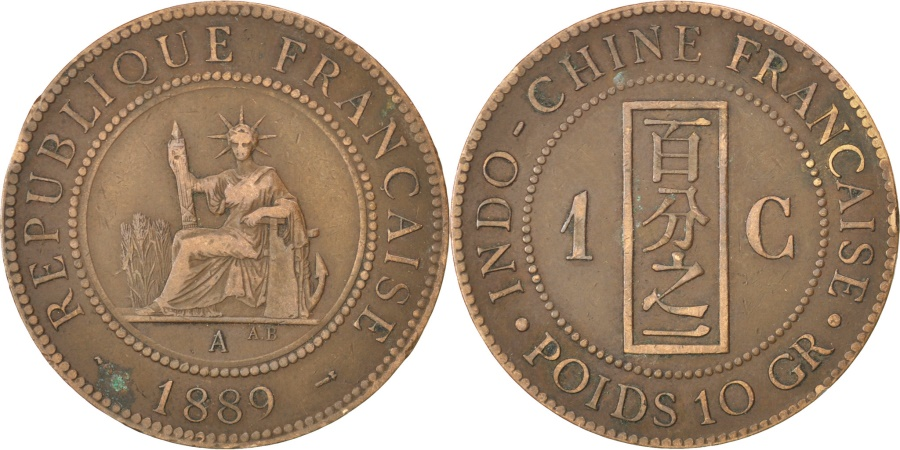 World Coins - FRENCH INDO-CHINA, Cent, 1889, Paris, KM #1, , Bronze, 31, Lecompte...