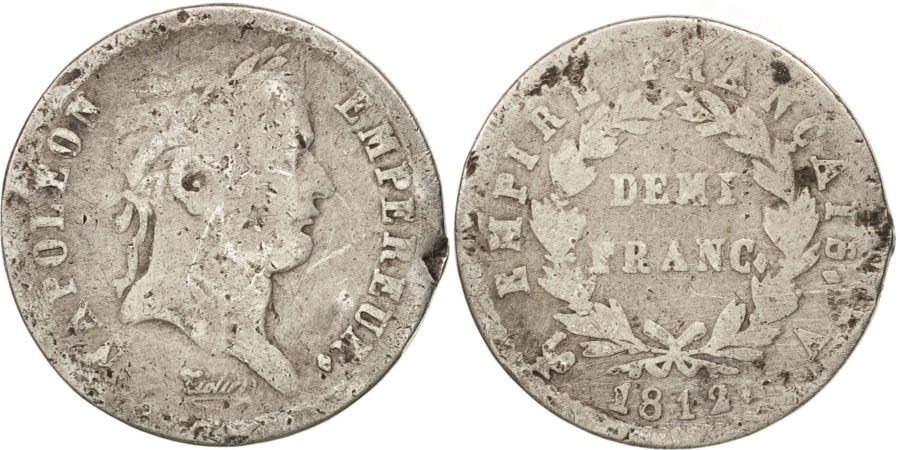 World Coins - France, Napoléon I, 1/2 Franc, 1812, Paris, , Silver, KM:691.1