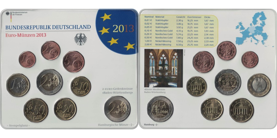 World Coins - Germany, Euro Set of 9 coins, 2013 J