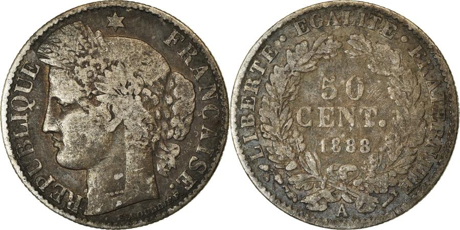 World Coins - Coin, France, Cérès, 50 Centimes, 1888, Paris, , Silver, KM:834.1