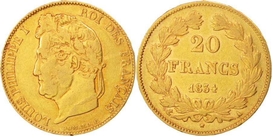 World Coins - France, Louis-Philippe, 20 Francs,1834,Paris,,Gold,KM:750.1,Gadoury1031