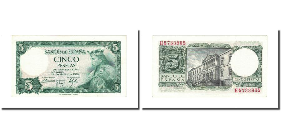 Banknote, Spain, 5 Pesetas, 1954, 1954-07-22, KM:146a, UNC(65-70)
