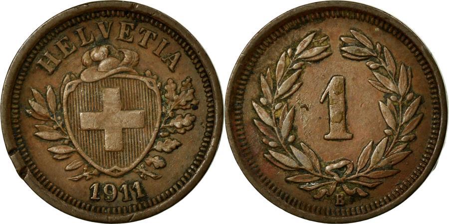 World Coins - Coin, Switzerland, Rappen, 1911, Bern, EF(40-45), Bronze, KM:3.2