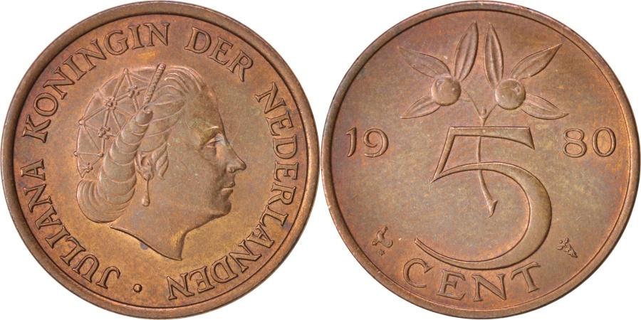 World Coins - Netherlands, Juliana, 5 Cents, 1980, , Bronze, KM:181