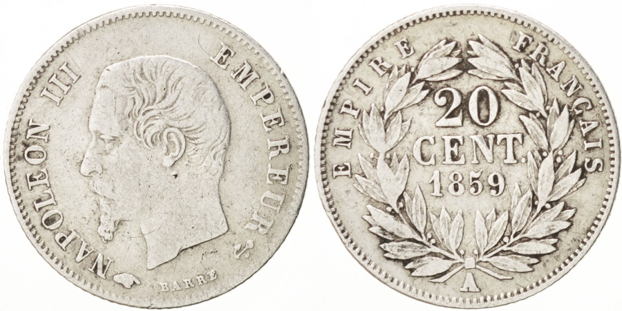 World Coins - France, Napoleon III, 20 Centimes, 1859, Paris, , Silver, KM 778.1