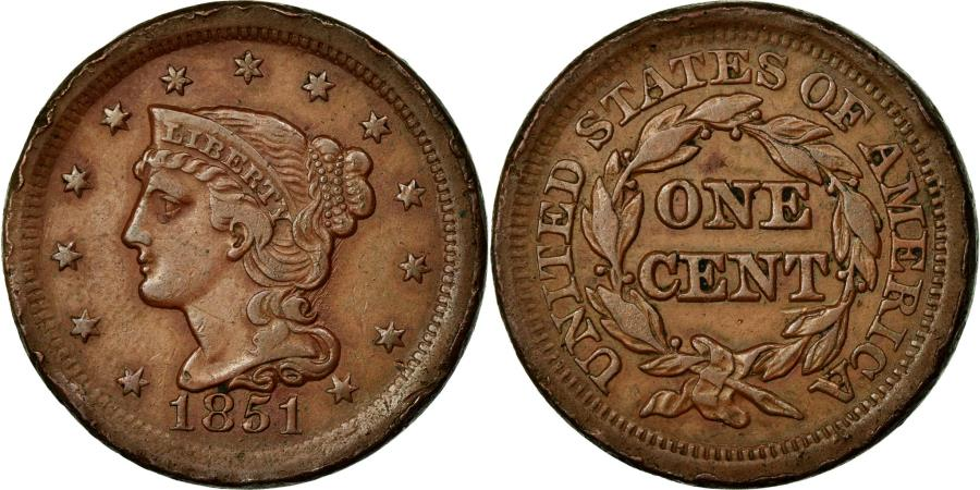 US Coins - Coin, United States, Braided Hair Cent, Cent, 1851, U.S. Mint, Philadelphia