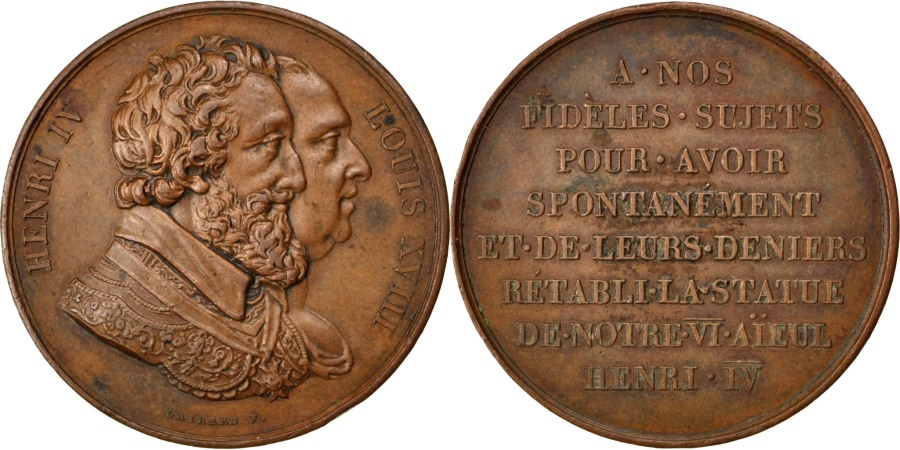 World Coins - FRANCE, History, Louis XVIII, Medal, , Gayrard, Copper, 32, 20.20