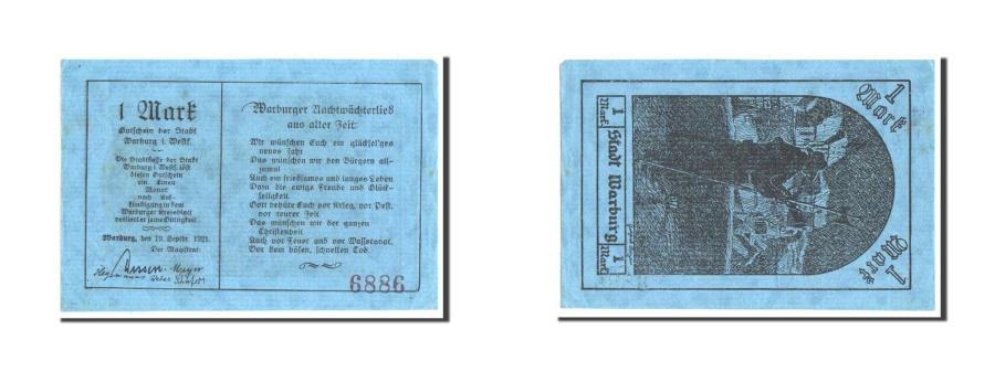 World Coins - Germany, Warburg Stadt, 1 Mark, 1921, AU(55-58), 6886, Mehl #1376.1