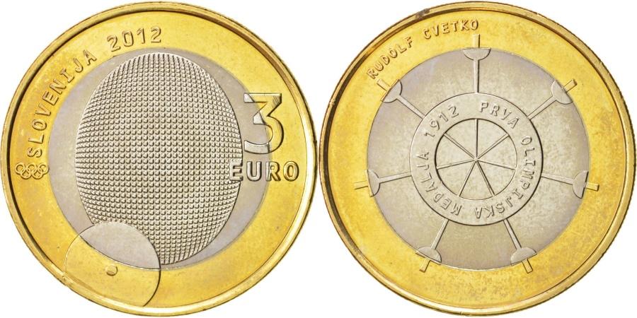 World Coins - Slovenia, 3 Euro, 2012, KM:109, , Bi-Metallic