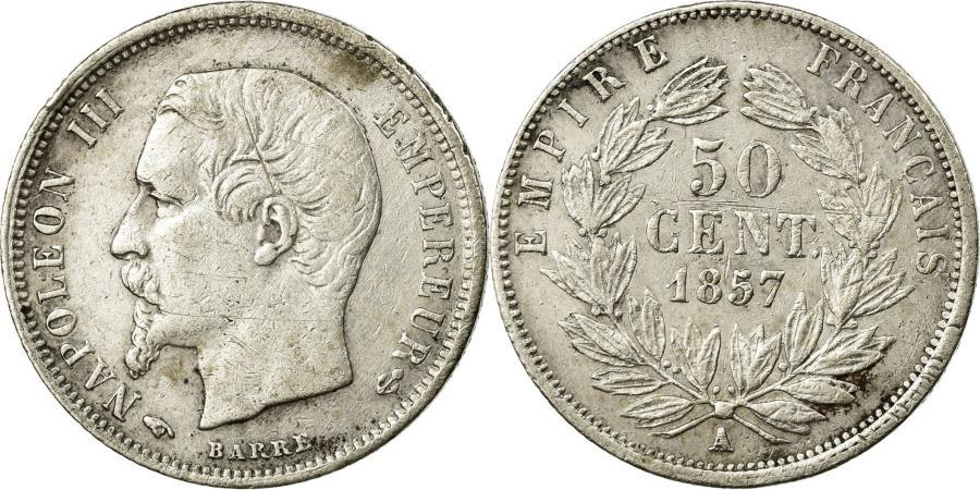 World Coins - Coin, France, Napoleon III, Napoléon III, 50 Centimes, 1857, Paris, VF(30-35)