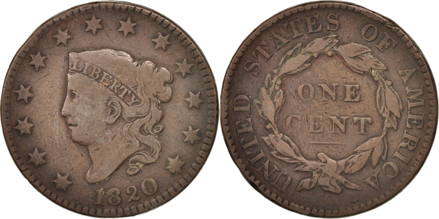 US Coins - United States, Coronet Cent, 1820, U.S. Mint, , Copper, KM:45