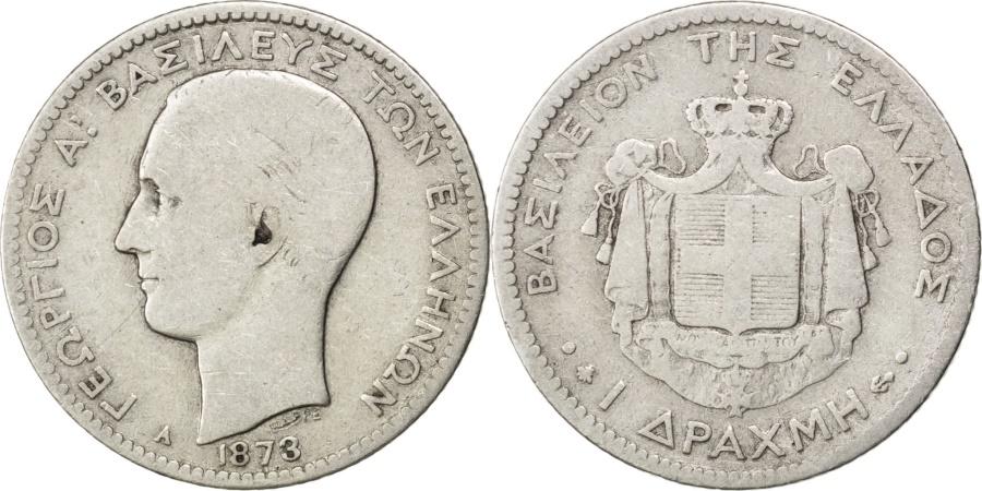 World Coins - GREECE, Drachma, 1873, Paris, KM #38, , Silver, 4.77