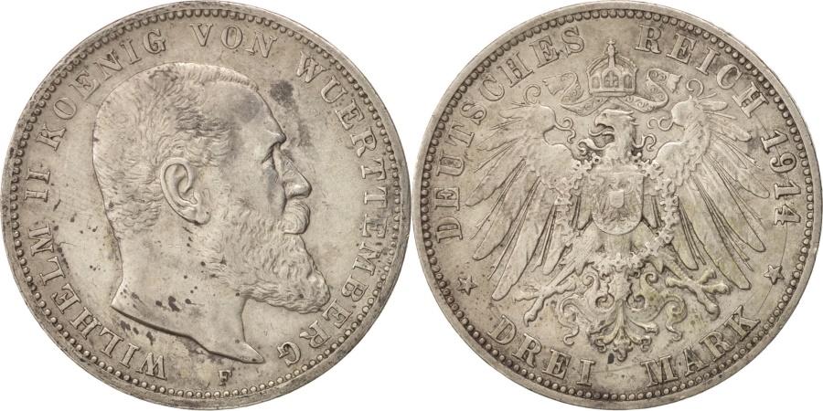 World Coins - German States, WURTTEMBERG, Wilhelm II, 3 Mark, 1914, Freudenstadt,