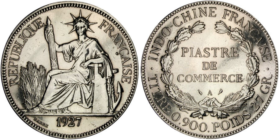 World Coins - FRENCH INDO-CHINA, Piastre, 1927, Paris, KM #5a.1, , Silver, Lecompte..