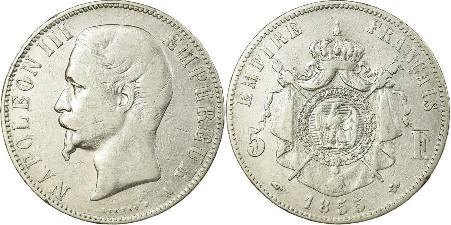 World Coins - Coin, France, Napoleon III, Napoléon III, 5 Francs, 1855, Paris,