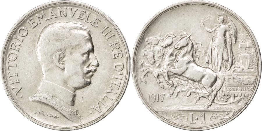 World Coins - ITALY, Lira, 1917, Rome, KM #57, , Silver, 4.97