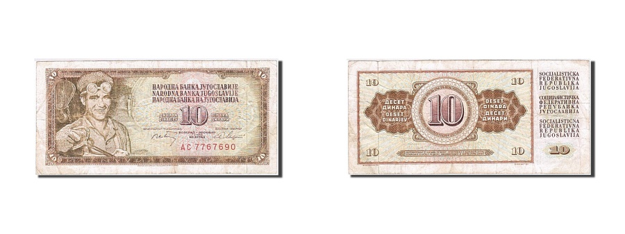 World Coins - Yugoslavia, 10 Dinara, 1968-1970, 1968-05-01, KM:82b, VF(20-25)