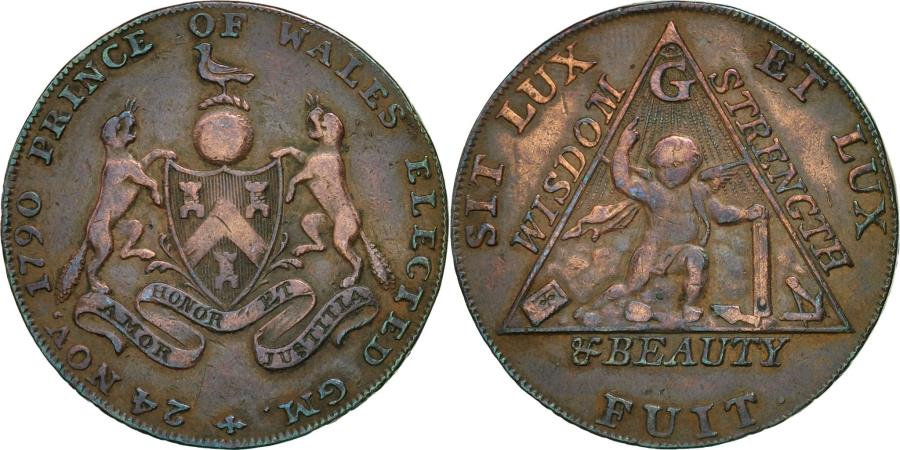 World Coins - Coin, Great Britain, Masonic, Halfpenny Token, 1794, Middlesex, EF(40-45)