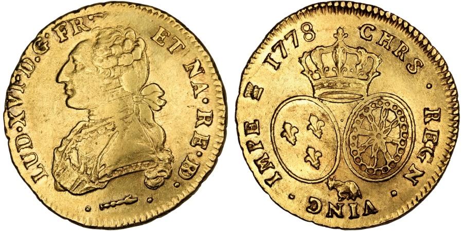 World Coins - FRANCE, Double louis d'or de Béarn au buste habillé, 2 Louis D'or, 1778, Pau, KM