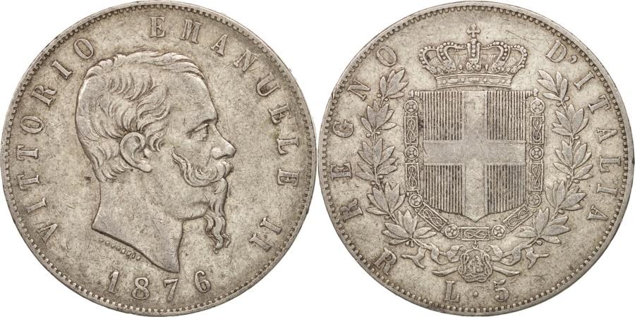 World Coins - Italy, Vittorio Emanuele II, 5 Lire, 1876, Rome, , Silver, KM:8.4