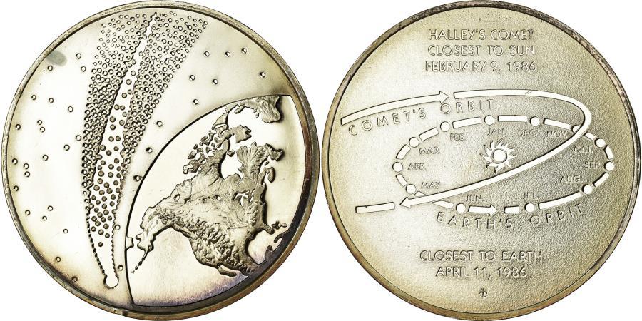 World Coins - France, Medal, La Comète de Halley, Sciences & Technologies, 1986,