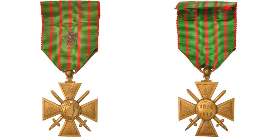 World Coins - France, Croix de Guerre de 1914-1918, Medal, 1918, Excellent Quality, Bronze, 37