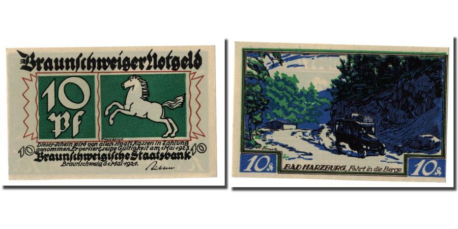 World Coins - Banknote, Germany, Braunschweig, 10 Pfennig, paysage 3, 1921, 1921-05-01