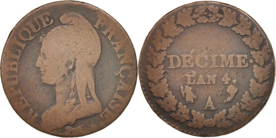 World Coins - France, Dupré, Decime, AN 4, Paris, , Bronze, KM:636.1, Gadoury:184