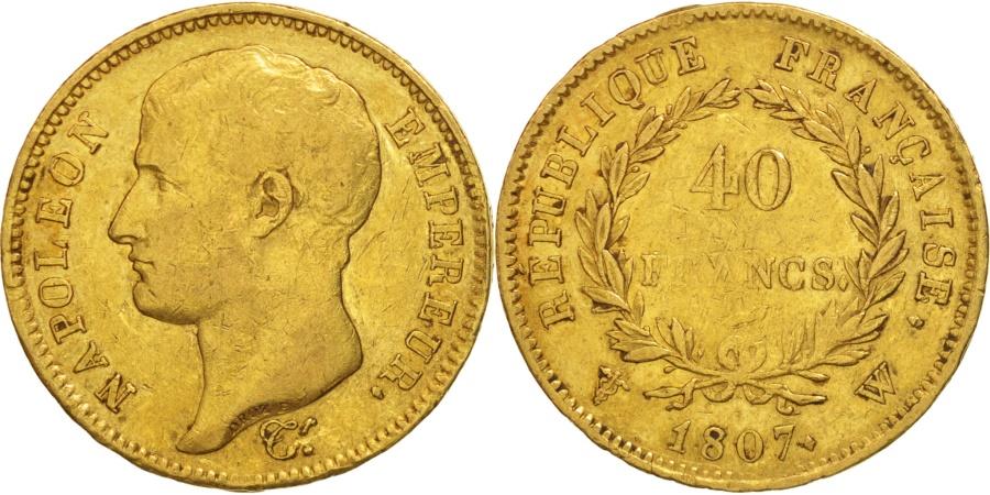 World Coins - France, Napoléon I, 40 Francs, 1807, Lille, , Gold, KM:A688.5