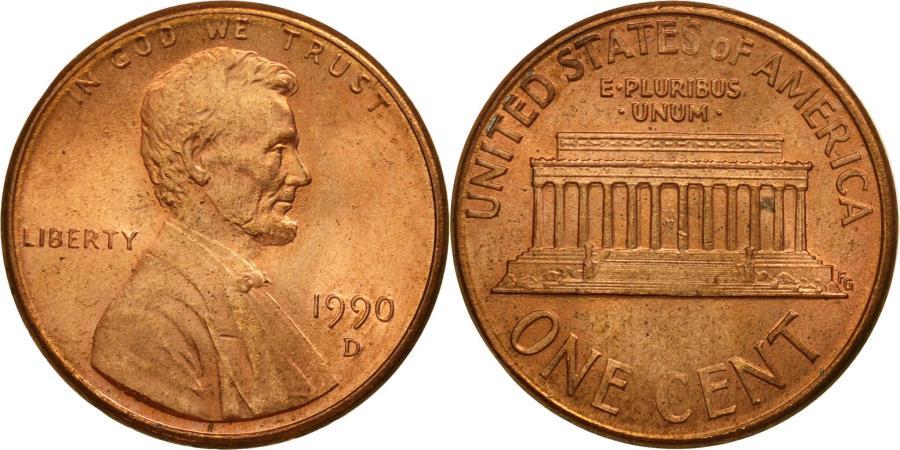 US Coins - United States, Lincoln Cent, Cent, 1990, U.S. Mint, Denver, , Copper